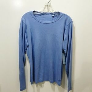 IZOD Size L Tee Solid Blue Scoop Neckline Cotton